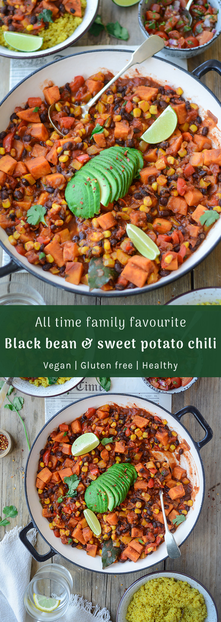 All time family favourite black bean & sweet potato vegan chili via Fit Foodie Nutter #vegandinner #familyfriendly #meatfreemonday #cleaneating
