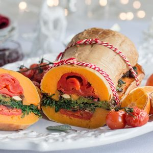 ROASTED  BUTTERNUT SQUASH WITH SAGE & MUSHROOM STUFFING (VEGAN, GF)