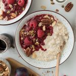 Overnight oats with plum & raspberry compote