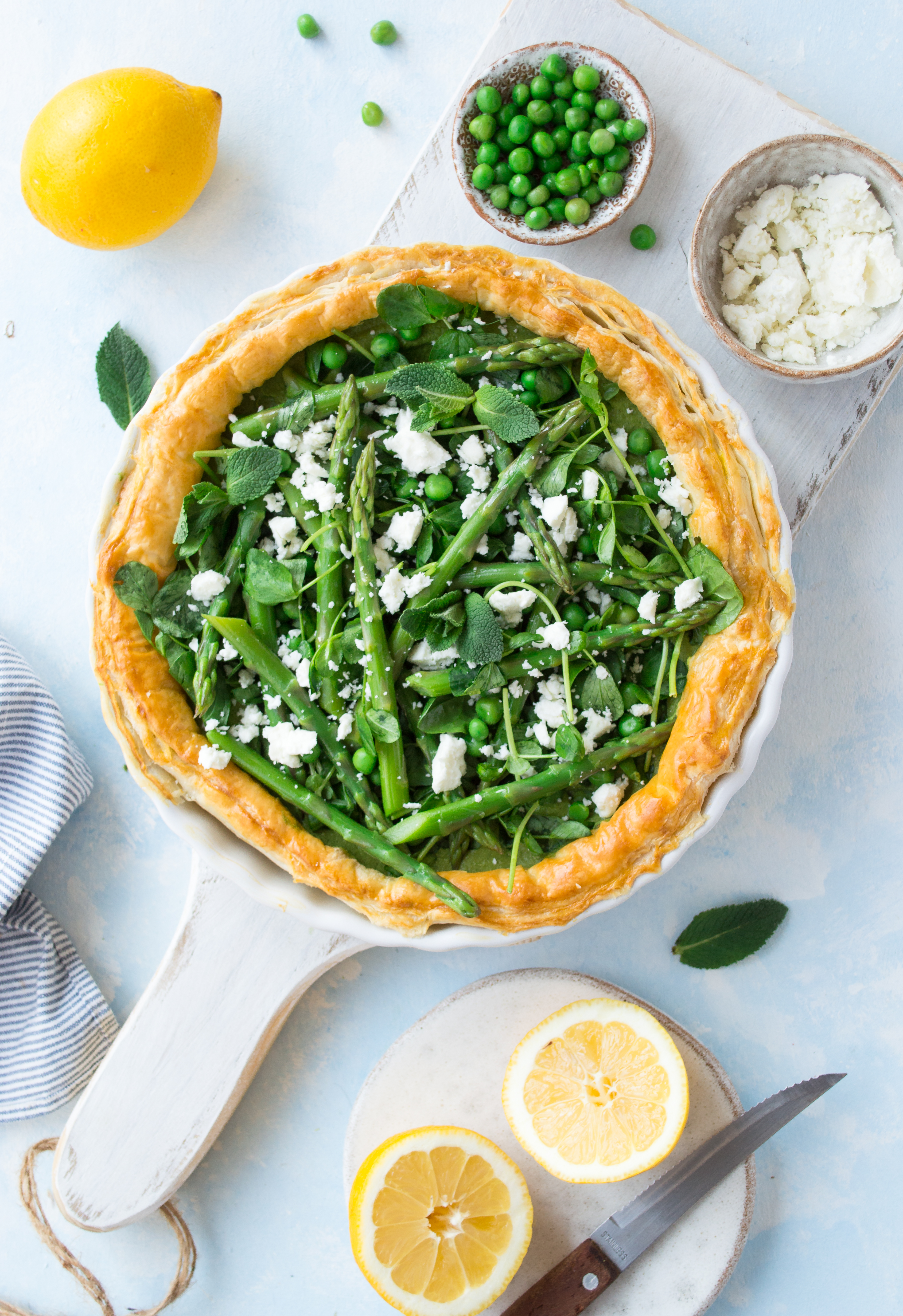 Asparagus tart with pea & mint pesto & feta
