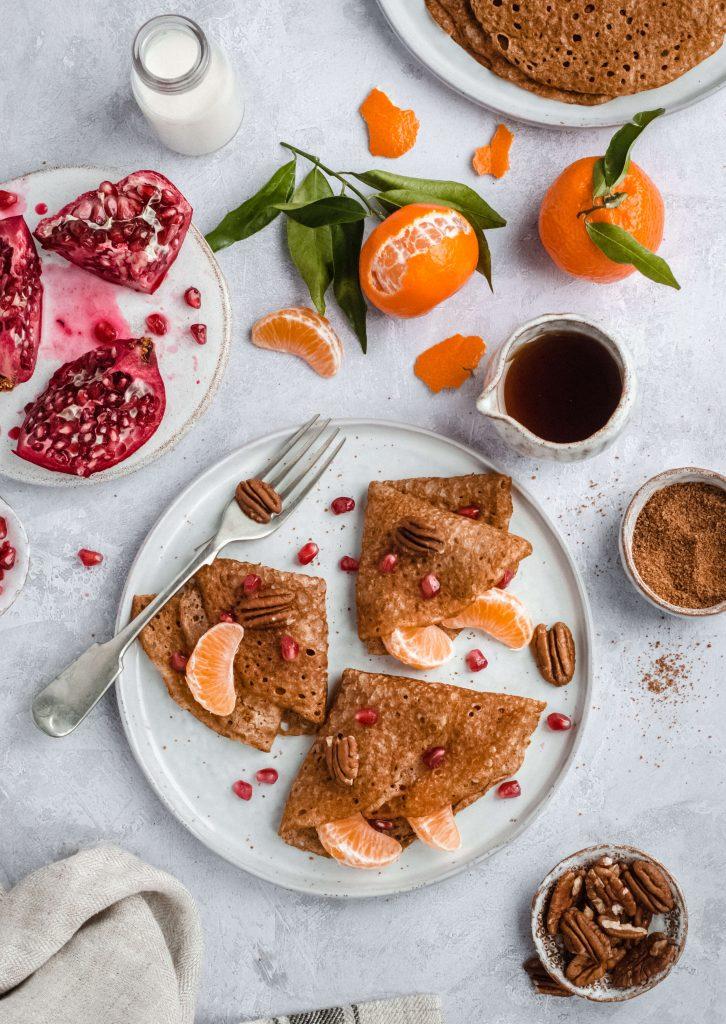 Orange vegan crepes pancakes